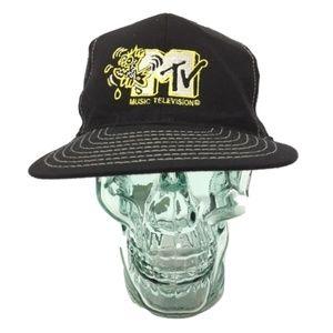 MTV Black Snapback Embroidered VTG 90s Made in USA